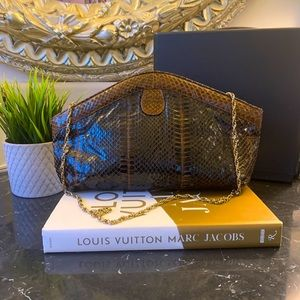 VINTAGE SNAKESKIN CLUTCH WITH CHAIN STRAP